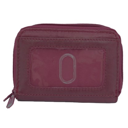 Women's Leather Wallet ID Credit Cards Cash Coin Holder Case Purse Organizer Burgundy