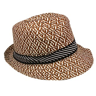 Silver Fever Patterned and Banded Cloth Fedora