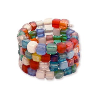 Silver Fever® Wrap Around Adjustable Multicolor Beaded Ring