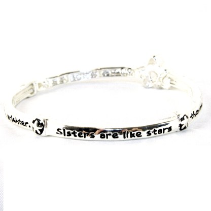 Gift of Sisters Are Like Stars Serenity Prayer Silver Infinity Circle Bangle Bracelet