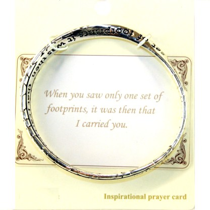 Gift of Footprint Serenity Prayer Silver Infinity Circle Bangle Bracelet