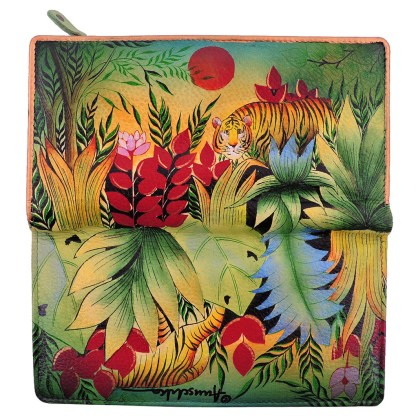 Anuschka Genuine Leather Ladies Clutch 2-fold Wallet Handpainted Rousseau's Jungle