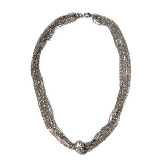 """Sliding CZ Fireball Multiple Faceted Ball Mesh Chains Silver Necklace 18+3"""""""