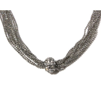 Sliding CZ Fireball Multiple Faceted Ball Mesh Chains Silver Necklace 18+3""