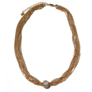 Sliding CZ Fireball Multiple Faceted Ball Mesh Chains 18Kt Gold Necklace 18+3""