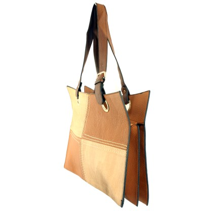 Medium 2-in-1 Flat 2-Tone Camel Tan Pocketbook Tote Shoulder Handbag
