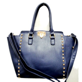 Posh Glamorous Gold Plated Square Studded Blue Tote Handbag