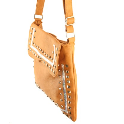 Zippered Crystal & Metal Studded Camel Crossbody Messenger Bag