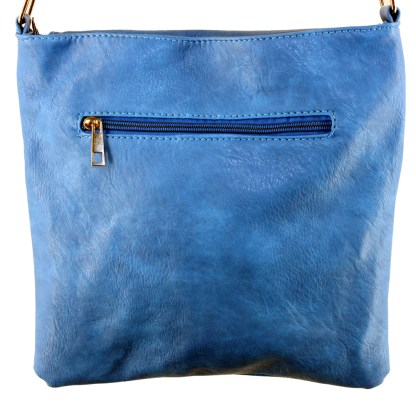 Zippered Crystal & Metal Studded Blue Crossbody Messenger Bag