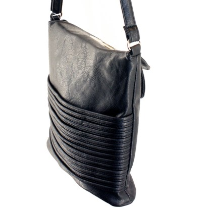 Flip Handle Black Layered Strands Crossbody Messenger Bag
