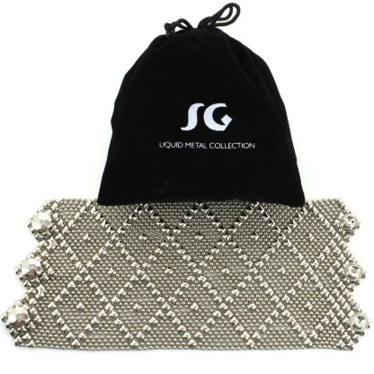 "Sergio Gutierrez Liquid Metal Extra Wide 3.5"" Diamond Pattern Cuff Bracelet -3 Closures"