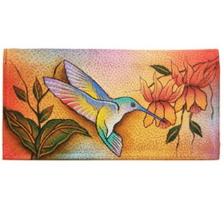 Anuschka Hand Painted Leather Check Book Holder ID Window Flying Jewels Hummingbirds