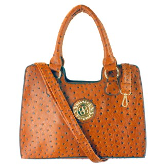 Ostrich Print Embossed Medium Satchel Silver Fever®