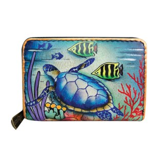 Anuschka Hand Painted Genuine Leather Credit Business Card Holder Ocean Treasures
