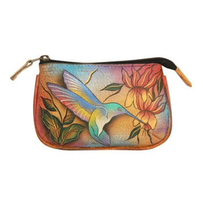 Anuschka Hand Painted Genuine Leather Medium Coin Purse Flying Jewels