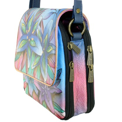 Anuschka Genuine Leather Handpainted Triple Compartment Crossbody Organizer Luscious Lilies Denim