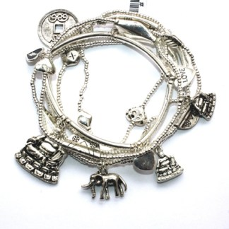 Six GOOD KARMA Charm Bracelets Silver Luck Love Buddha Elephant Chinese Coin Ch