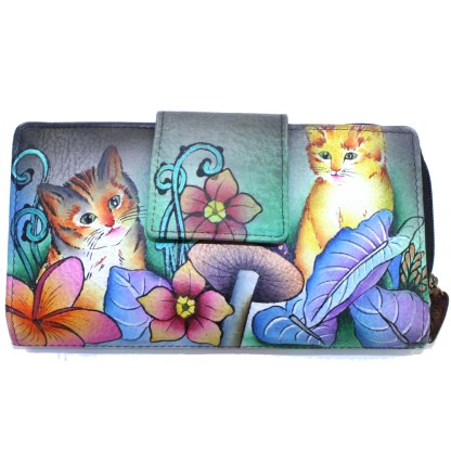 Anuschka Two Fold Organizer Wallet Flap & Zip Hand Painted Genuine Leather Cats in Wonderland