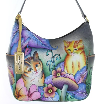 Anuschka Genuine Leather Large Zipped Hobo Hand Painted Cats In Wonderland