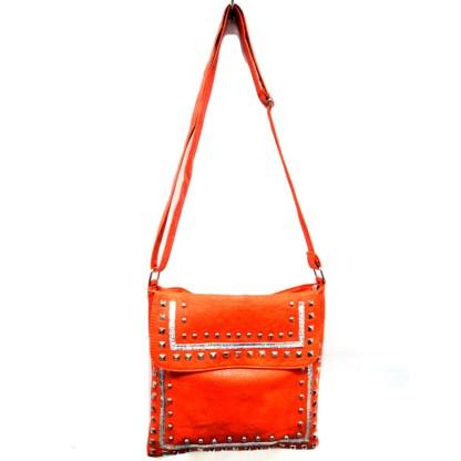 Zippered Crystal & Metal Studded Orange Crossbody Messenger Bag