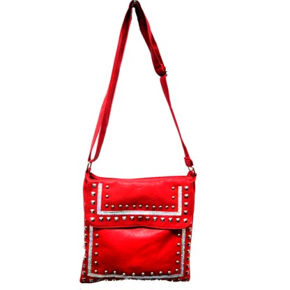 Zippered Crystal & Metal Studded Red Crossbody Messenger Bag