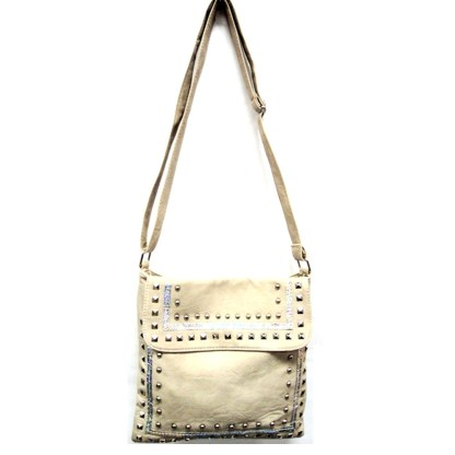 Zippered Crystal & Metal Studded light ApricotCrossbody Messenger Bag