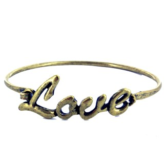 Love Monogram Stuckable Bangle Bracelet w Hinge Sz7-8 Antiqued Gold
