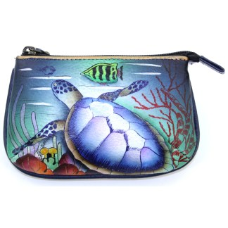 Anuschka Hand Painted Genuine Leather Medium Coin Purse Ocean Treasures