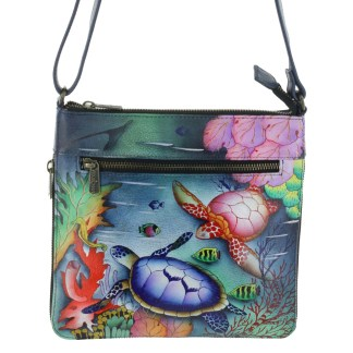 Anushcka Medium Cross Body  Bag Handpainted Leather Ocean Treasures