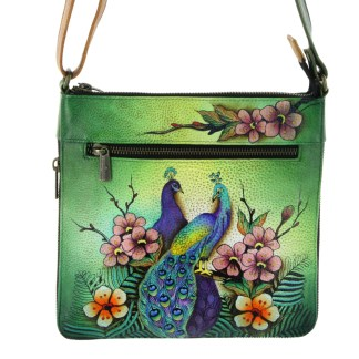 Anushcka Medium Cross Body  Bag Handpainted Leather Passionate Peacocks