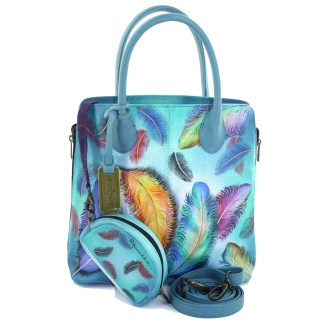 Anushcka Medium Expandable Convertible Tote Bag Handpainted Leather Floating Feathers