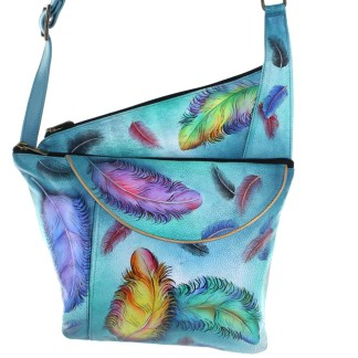 Anushcka Asymetric Slim Crossbody Bag Handpainted Leather Floating Feathers