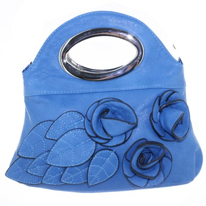 Silver Fever® Rose Applique Mini Clutch Crossbody Handbag Blue