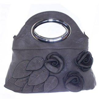 Silver Fever® Rose Applique Mini Clutch Crossbody Handbag Gray