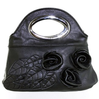 Silver Fever® Rose Applique Mini Clutch Crossbody Handbag Black