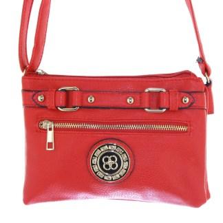 Silver Fever® Belted Accordion Crossbody Handbag Red
