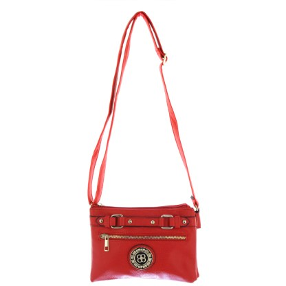 Silver Fever® Belted Accordion Crossbody Handbag Red