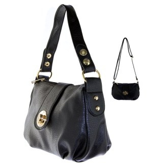 Silver Fever® Speedy to Crossbody Versatile Mini Satchel Handbag Black