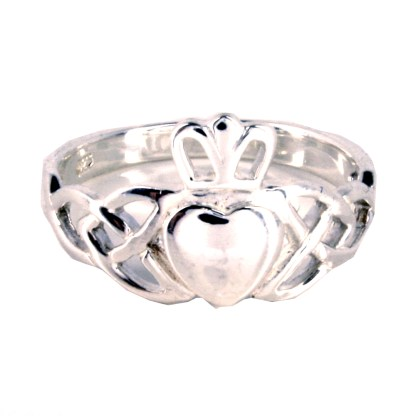 Sterling Silver High Polished Claddagh Heart Crown Band Ring Size 6-9 Gift Box