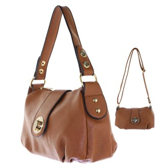 Silver Fever® Speedy to Crossbody Versatile Mini Satchel Handbag Camel Brown
