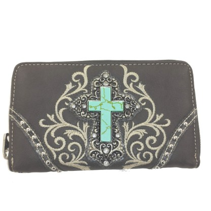 Montana West Western Cross Accordion Walet Wristlet Clutch Gray