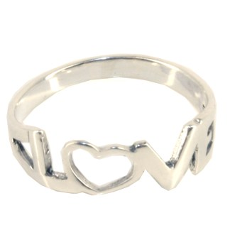 Sterling Silver High Polished LOVE  Band Ring Size 6-9 Gift Box