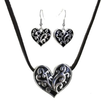 Silver Fever® Sliding Filigree Heart Set Silver Black