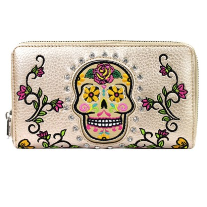 Montana West Sugar Skull Collection Wallet-Beige