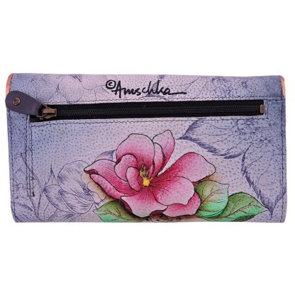 Anuschka Genuine Leather Accordion Flap Wallet Hand Painted Floral Fantasy