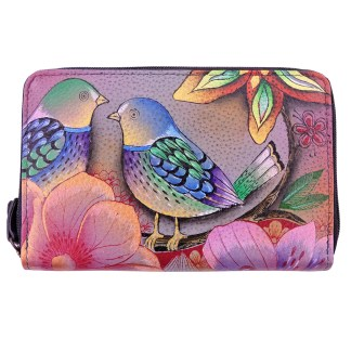 Anuschka Twin Zip Around Organizer Wallet Hand Painted Leather Blissful Birds