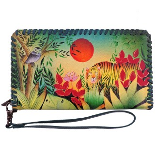 Anuschka Whip Stitched Accordion Wristlet Wallet Rousseau's Jungle