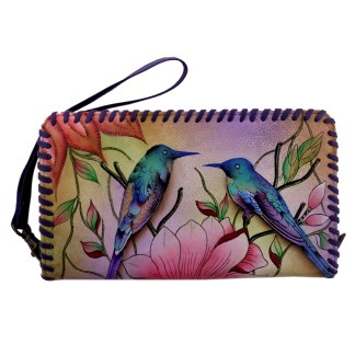 Anuschka Whip Stitched Accordion Wristlet Wallet Spring Passion
