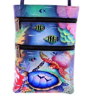 Anuschka Leather Small Travel Companion Bag Handpainted Ocean Treasures