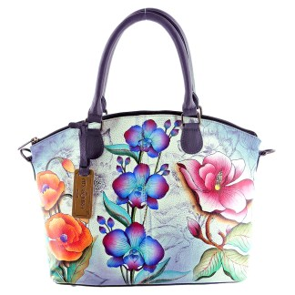 Anuschka Gen Leather Medium Convertible Satchel Hand Painted Floral Fantasy